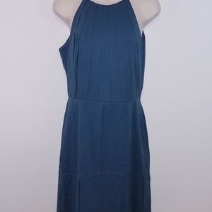 Ann Taylor Size 6 100% Silk Blue/Grey Dress
